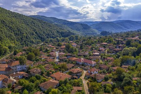 Beauty aerial view from drone of a small mountain village. Ichera, Bulgaria