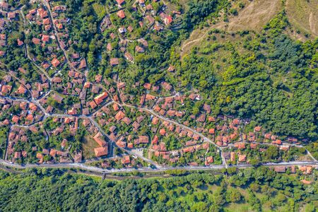 Beauty aerial top drone view of a small mountain village. Ichera, Bulgaria