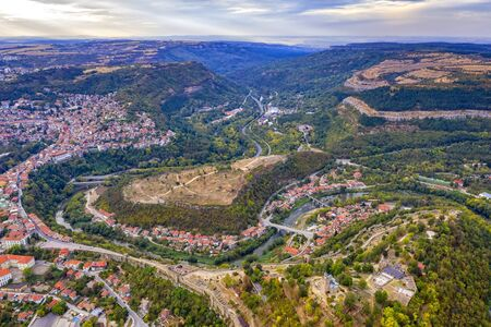 Aerial view of the Veliko Tarnovo and Tsarevets, a medieval fort on top of the hill, capital of the Second Bulgarian Kingdom. Veliko Tarnovo, Bulgaria