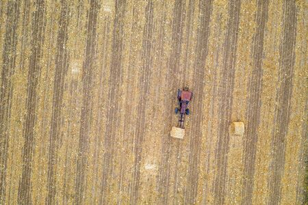 Aerial view from drone to the tractor collect bales of hay. Top view