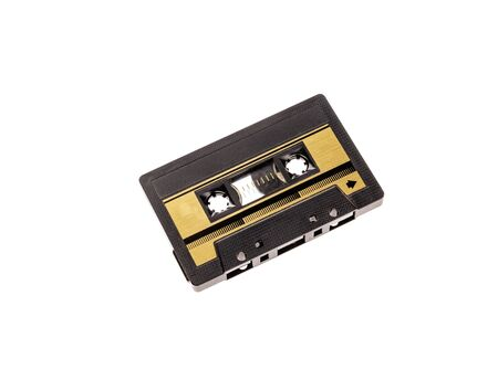vintage cassette tape isolated white background.