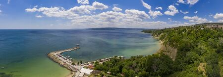 Aerial view from drone of bay and coastline of Varna city, Bulgaria. High resolution Stock fotó