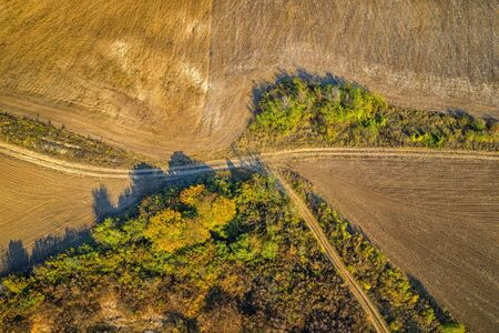 aerial top view from drone  of the country road dividing into among the fields.