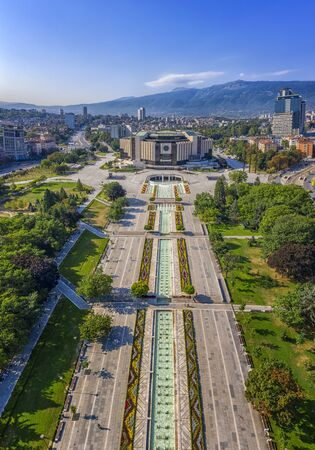 Sofia, Bulgaria - August 22, 2019: Amazing aerial view of National Palace of Culture in the city of Sofia, capital of Bulgaria