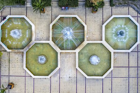 aerial top view of the fountain in the city. Drone photography
