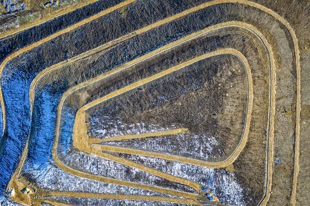 Aerial top view of a city garbage dump. Waste Disposal Facility Reklamní fotografie