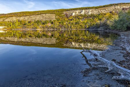 Amazing view from the shore of an old tree and mountain hills with autumn colors reflected in still lake water  Reklamní fotografie