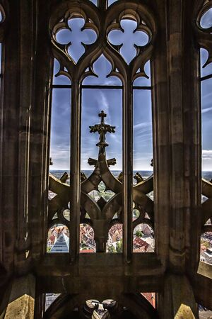 Architecture detail, the tower window of the church in Ulm, Germany Reklamní fotografie