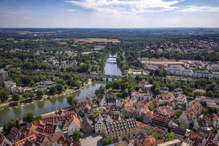 Houses and river in the city of Ulm, Germany. View from the top of Ulm Minster the worlds tallest church. Reklamní fotografie