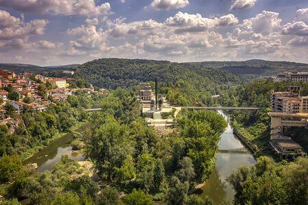 Veliko Tarnovo, Bulgaria - August 30, 2016: Panoramic view of the State Art Gallery Boris Denev and the Asenovtsi memorial in the city of Veliko Tarnovo, Bulgaria