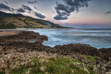 Scenic view to the shore of the Atlantic ocean with coral rocks, Cuba