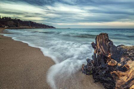 Seascape, Superb long exposure seascape with a log at the Black Sea coast, Bulgaria Archivio Fotografico