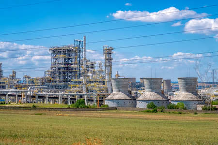 Factory plant and energy industry concept. Oil, gas and petrochemical refinery factory. power and energy business