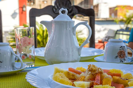 Delicious breakfast on the table.Traditional breakfast in Cuba