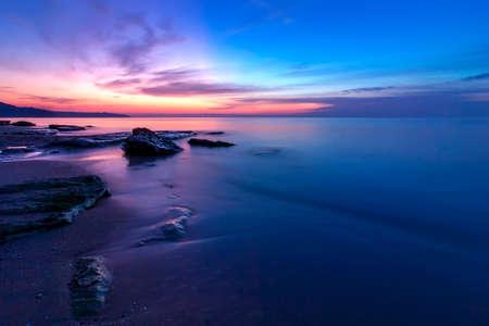 Stunning sunrise view at the Black sea coast near Varna, Bulgaria. Blue hour