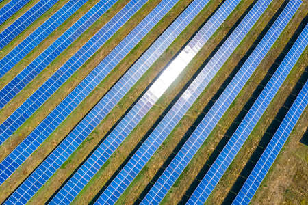 Aerial top view from drone of field of solar panels