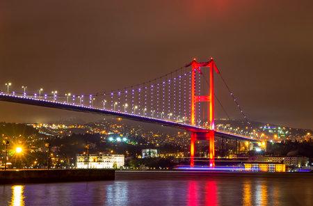 Night view of Bosphorus bridge with lights Istanbul, Turkey