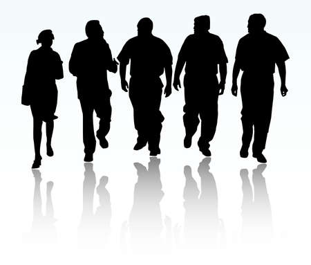 large woman: Group of business people walking and talking