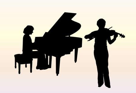 violinista: Concierto para piano y viol�n  Vectores