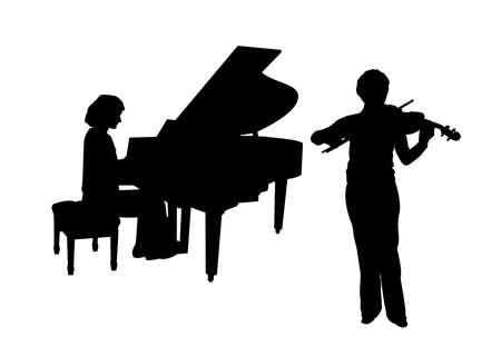violist: Concerto voor piano en viool geïsoleerde achtergrond Stock Illustratie