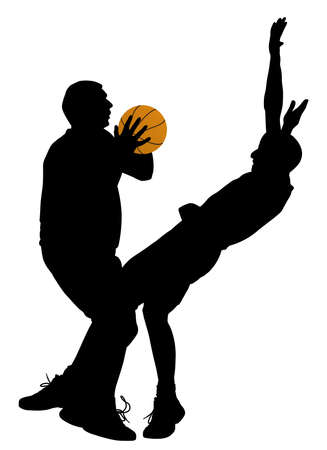 Basketball offense. In EPS vector file silhouette of offensive player can be separated object. Illustration
