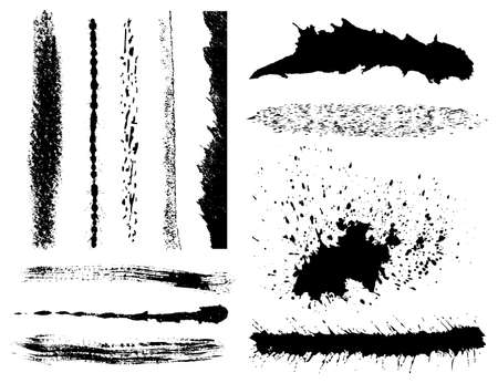 spitting: Set of grunge ink brush strokes Illustration