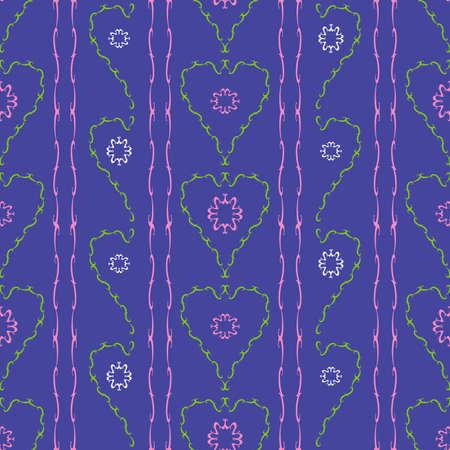 folkart: Flowers hearts seamless pattern