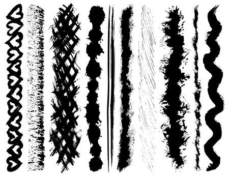 vieze handen: Set van grunge slagen inkt borstel Stock Illustratie