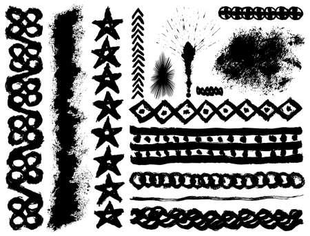 pointy: Set of grunge ink brush strokes Illustration