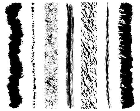 Set of grunge ink brush strokes Illustration