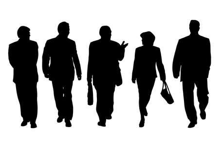 Group of business people walking and talking