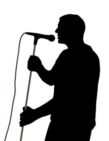 singer with microphone: Male singer