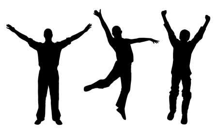 Winners and happy men Stock Vector - 5425340
