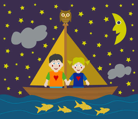 Kids sailing adventure into the night Vector
