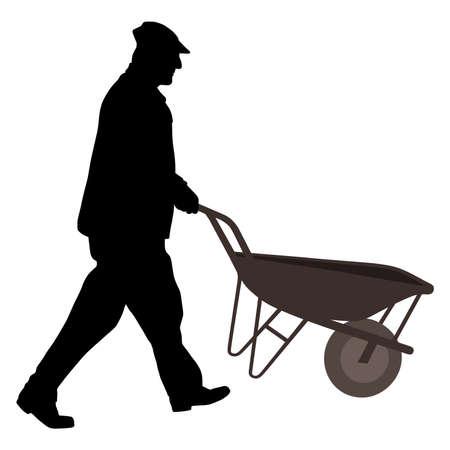 schubkarre: Arbeitnehmer mit Schubkarre