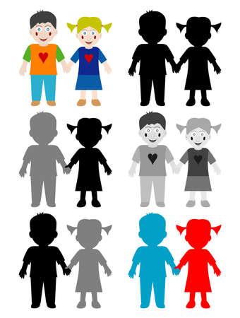 hold hand: Colore e nero bianco bambini felici  Vettoriali