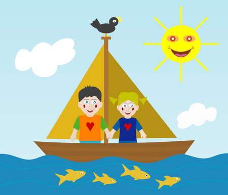 Kids sailing adventure Vector