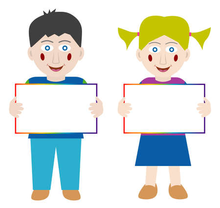 child holding sign: Happy children with blank banner Illustration