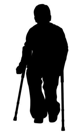 Handicap person with crutches
