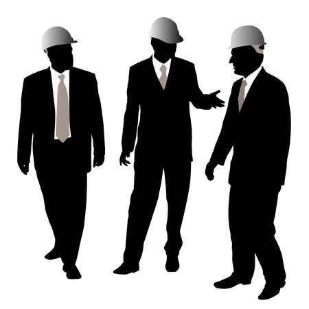 topografo: Tres empresarios arquitectos o ingenieros con casco protector Vectores