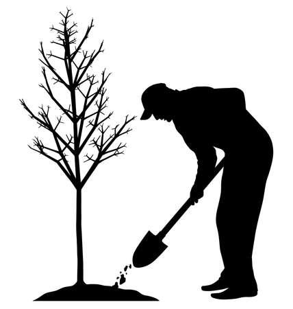 Planten van een boom Vector Illustratie
