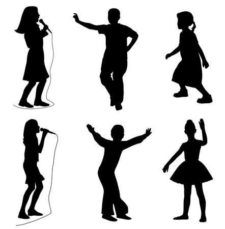 silueta ni�o: Ni�os cantando bailando Vectores