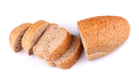 Sliced loaf of bread with sesame seeds isolated on white background. Stock Photo - 10510089