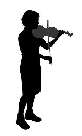 bowing: Female violinist