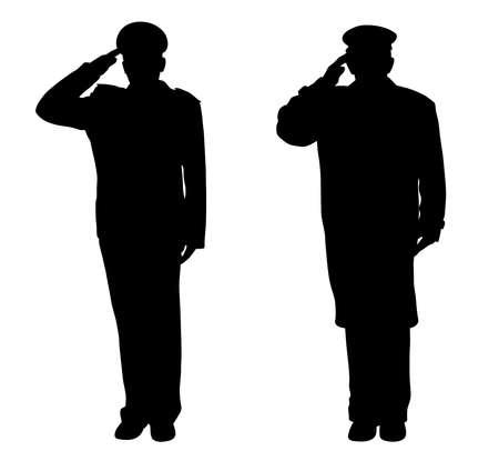Żołnierz, oficer, kapitan, policjant, marynarz lub strażak pozdrawiając Ilustracje wektorowe