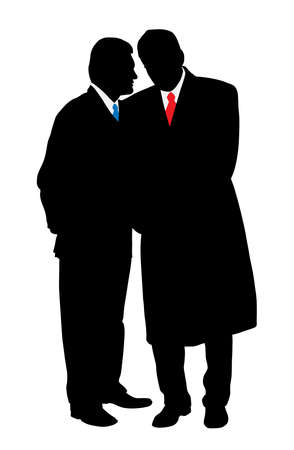 discreto: Dos hombres de negocios de conversación discreta, contando un secreto
