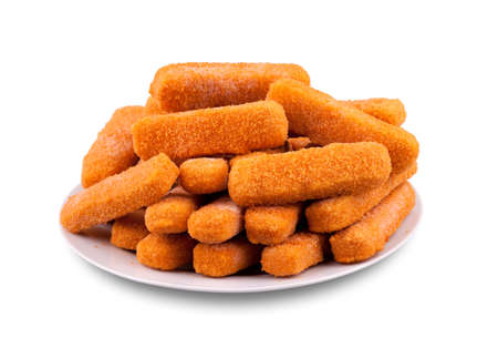 coated: Fish fingers on a plate Stock Photo