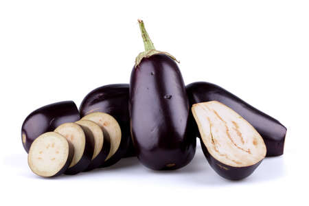 violaceous: Eggplants or aubergines Stock Photo