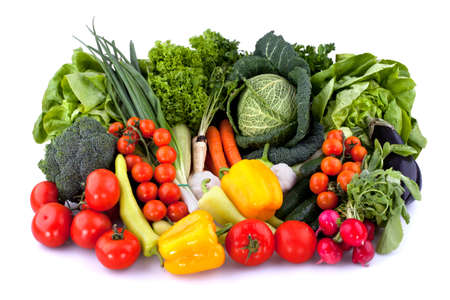 Collection of fresh vegetables isolated on white background.