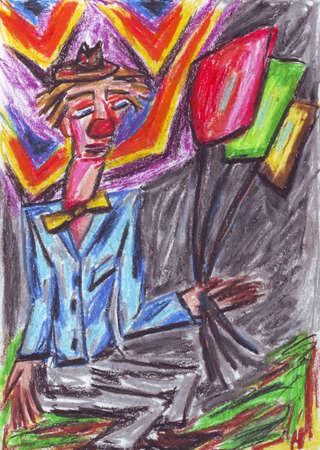 Clown oil pastel painting photo